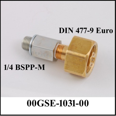 1/4 inch steel connector connected to brass hex nut for oxygen filling