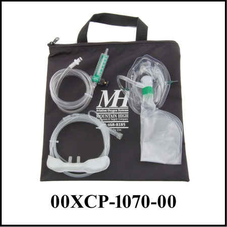 Clear face mask, cannula and Flowmeter on black tote bag