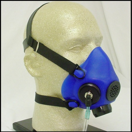 blue oxygen mask for pilots on a mannequin head