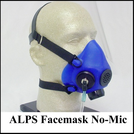 blue oxygen face mask on mannequin head